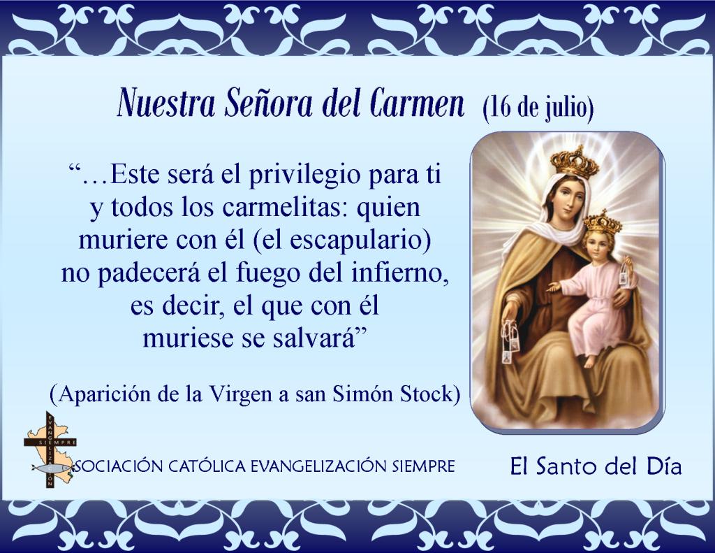 16 de julio Nuestra Señora del Carmen
