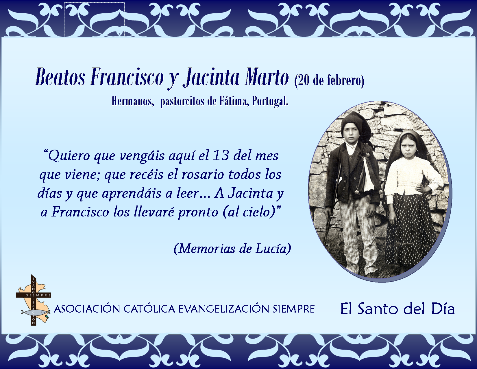 20 febrero Beatos Francisco y Jacinta Marto