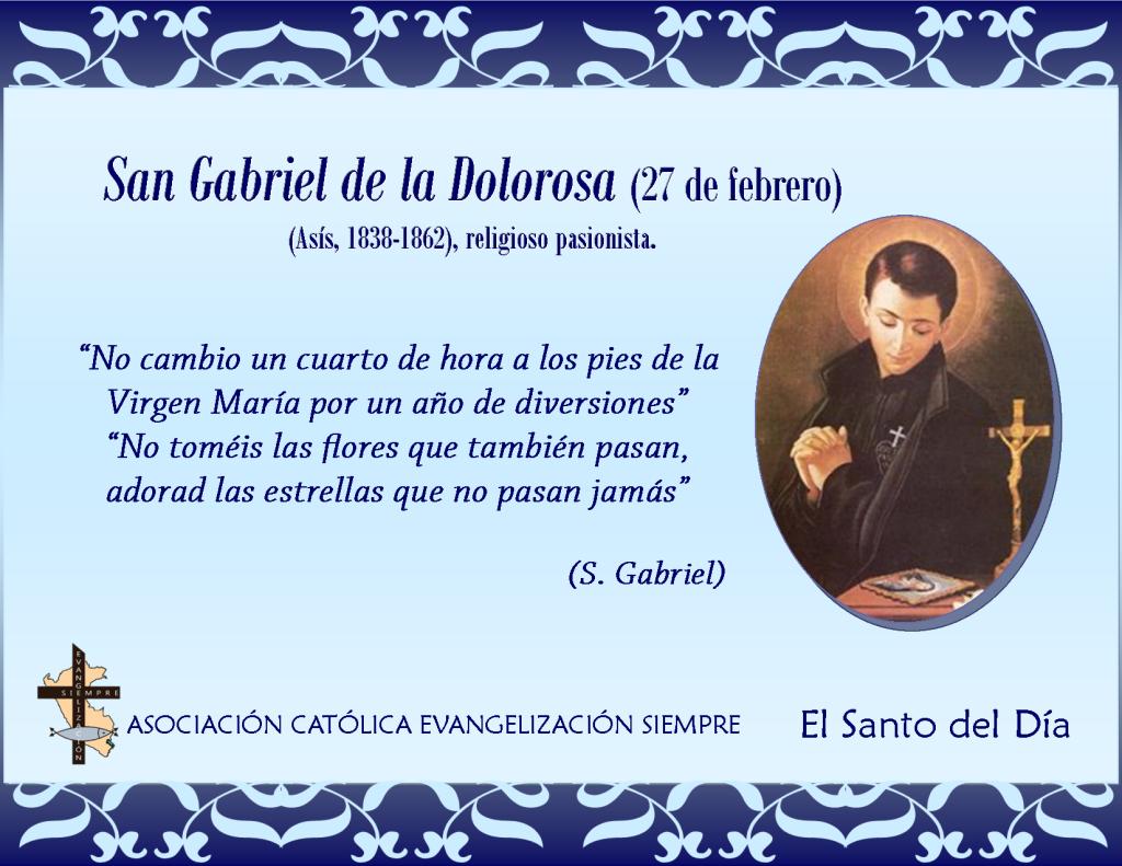 27 febrero San Gabriel de la Dolorosa