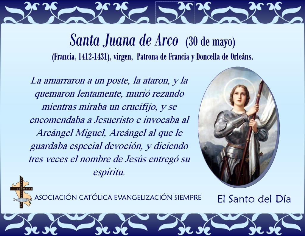 30 de mayo Santa Juana de Arco
