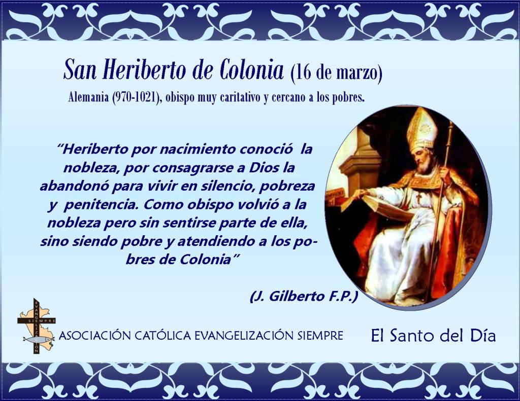 santo del dia 16 de marzo