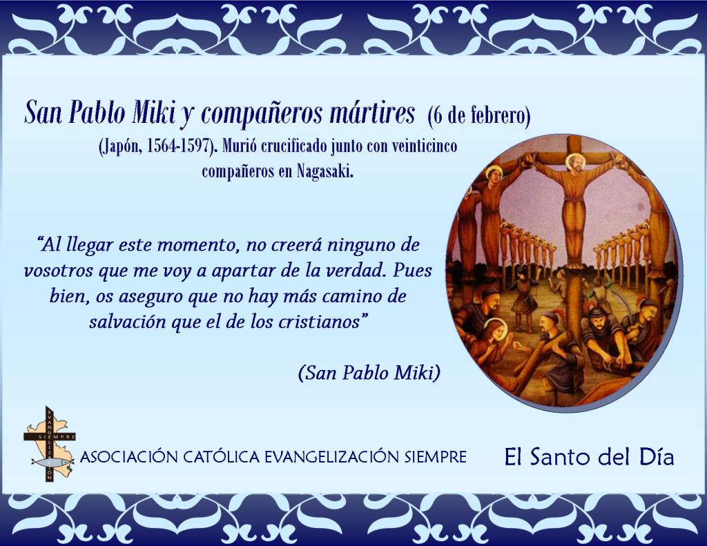 6 febrero San Pablo Miki y compañeros mártires