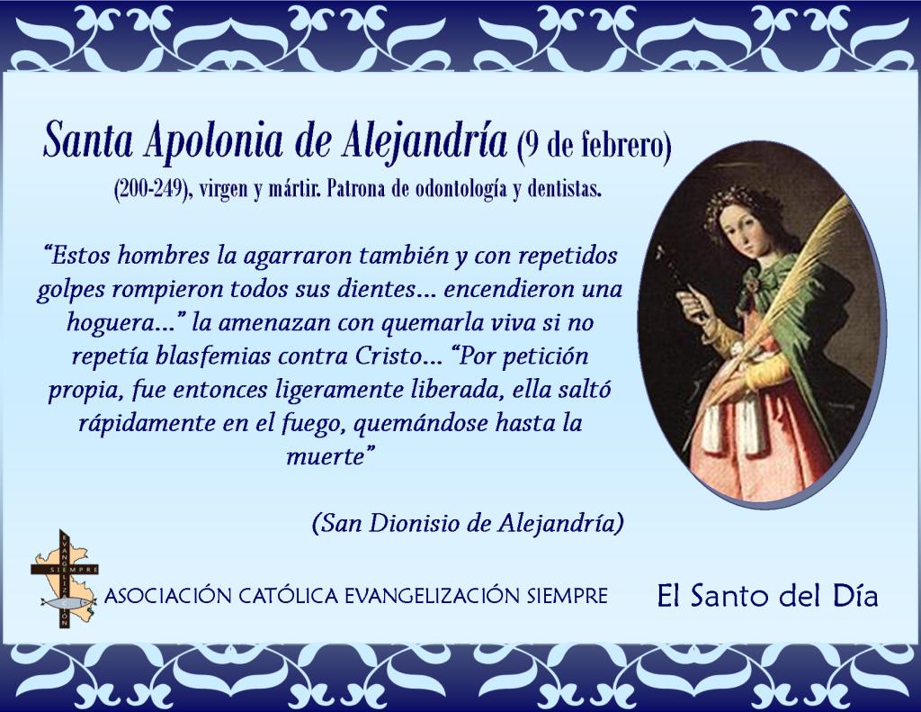 9 febrero Santa Apolonia de Alejandría