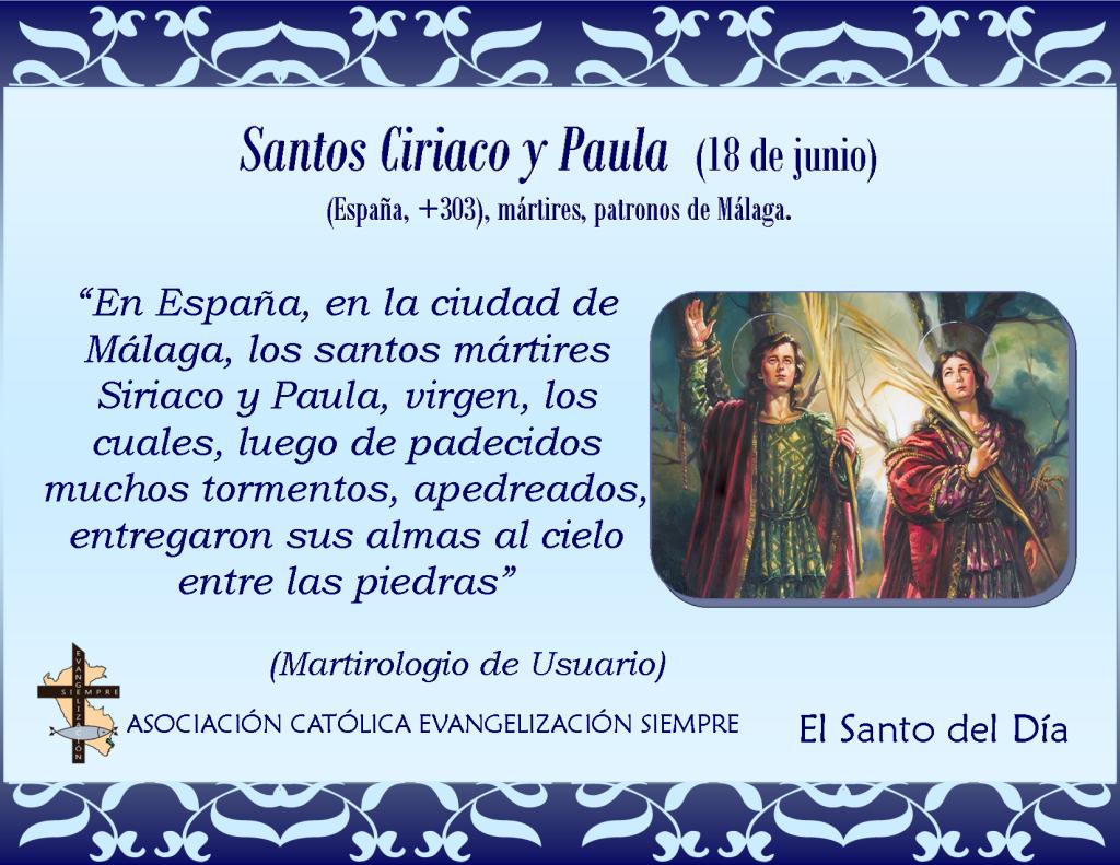 18 junio santos Ciriaco y Paula