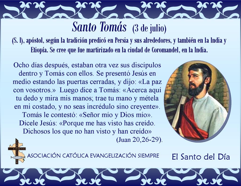 3 de julio Santo Tomás