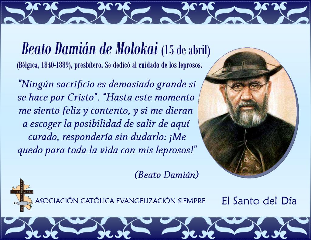 15 abril Beato Damián de Molokai
