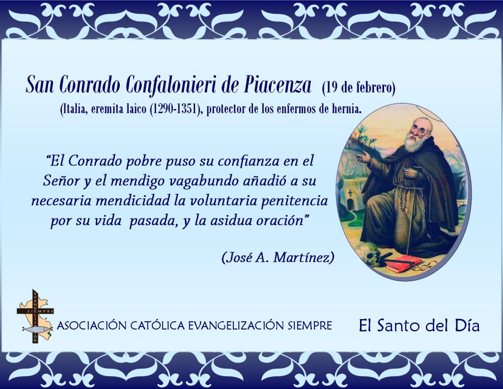 19 febrero San conrado Confalonieri de Piacenza