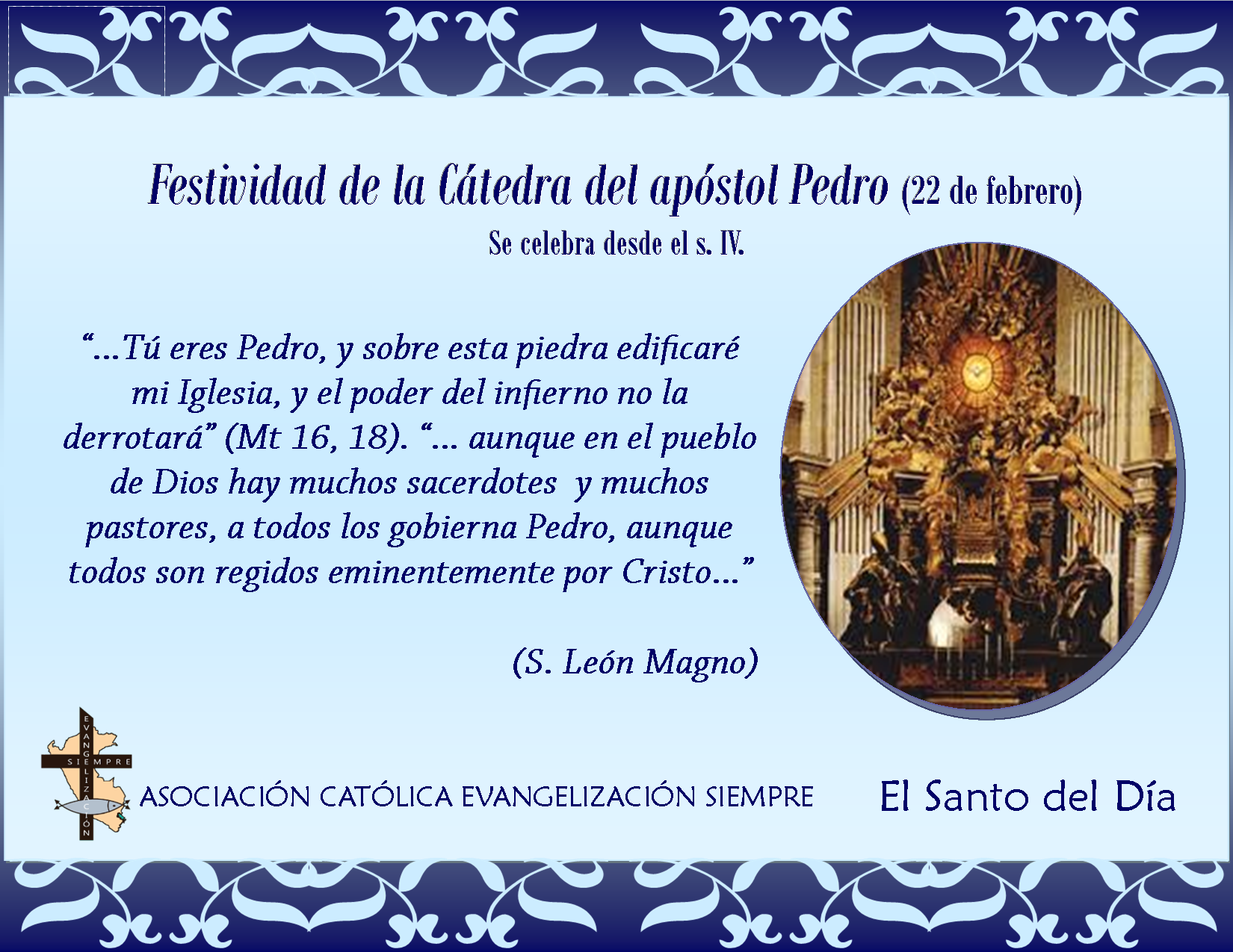 22 febrero Festividad de la Cátedra del apóstol Pedro