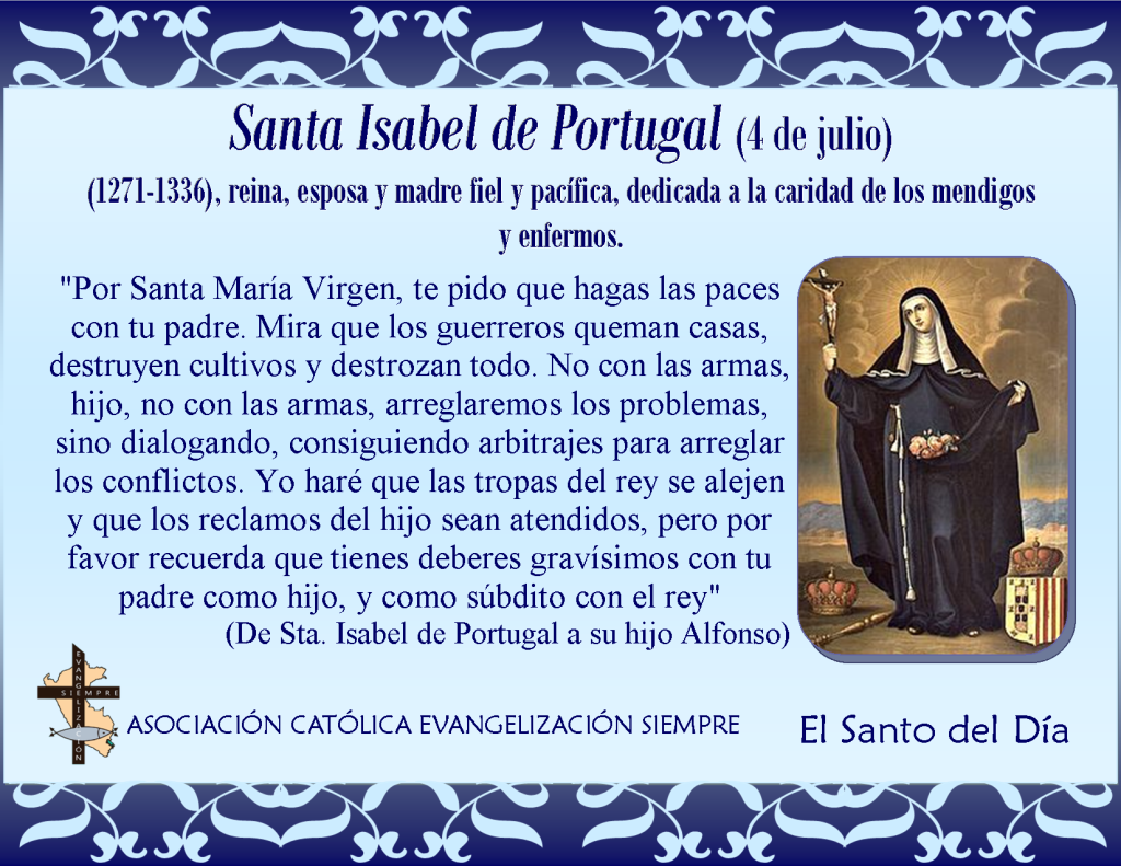 4 de julio Santa Isabel de Portugal